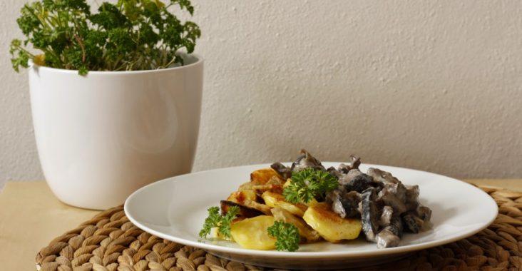 vegan houbové ragú s topinambury