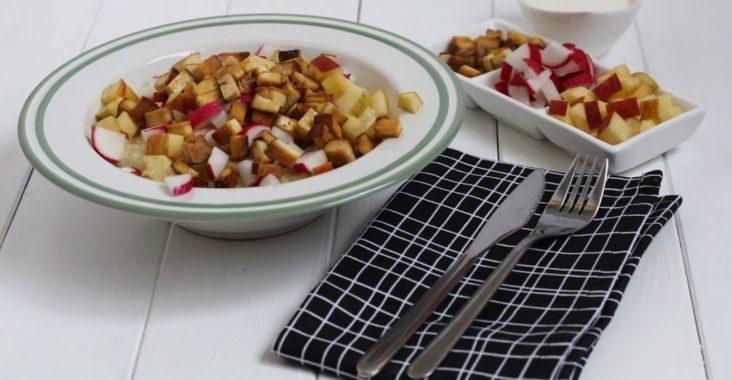 vegan risotto s ředkvičkami a jablky
