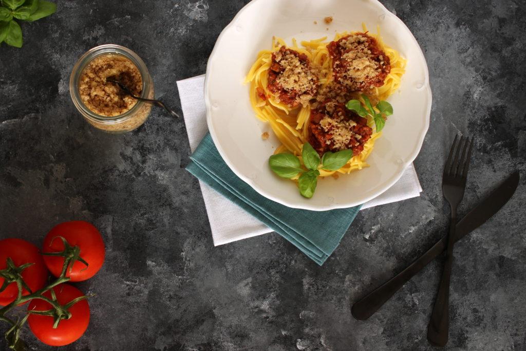 veganské boloňské špagety